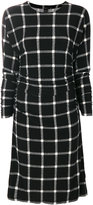 Norma Kamali plaid dolman shirred waist dress