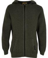 River Island Boys khaki waffle zip up hoodie