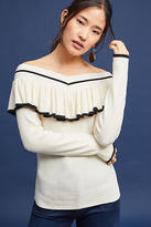 Knitted & Knotted Ruffled Off-The-Shoulder Pullover
