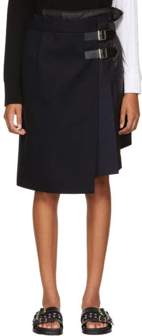 Sacai Navy Wool Combo Wrap Skirt