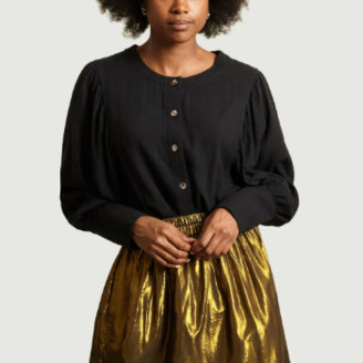 Polder Black Berta Long Sleeve Buttoned Top - black | silk | 36 - Black/Black
