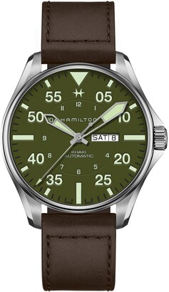Hamilton Khaki Aviation Pilot Schott Automatic Leather Strap Watch, 46mm
