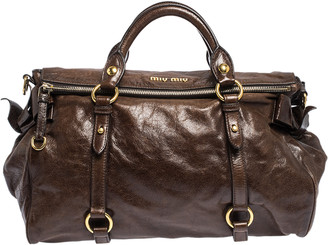 Miu Miu Dark Brow Vitello Shine Leather Bow Satchel