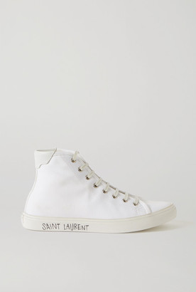 Saint Laurent Malibu Leather-trimmed Distressed Cotton-canvas High-top Sneakers - White