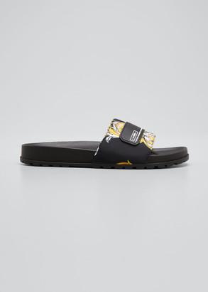 Versace Jeans Couture Men's Linea Fondo Pool Slide Sandals w/ Barocco-Print