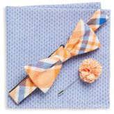Original Penguin Three-Piece Checkered Bow-Tie, Lapel Pin & Dotted Pocket Square Set