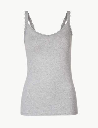 Marks and Spencer Cotton Rich Lace Trim Vest