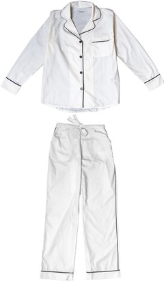 Phriya Women's White Classic Long Pajama Set