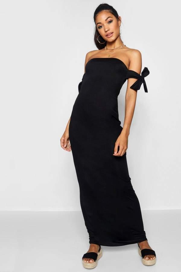 boohoo Tie Shoulder Column Jersey Maxi Dress