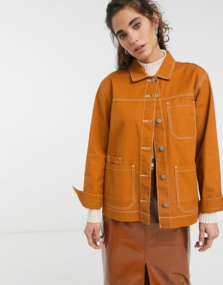 Dr. Denim contrast stitch worker jacket