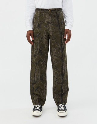 Carhartt Wip Double Knee Canvas Pant in Green Camo Tree