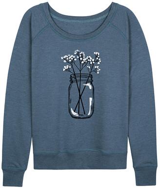 Instant Message Women's Women's Sweatshirts and Hoodies HEATHER - Heather Blue Baby's Breath Jar Slouchy Pullover - Women & Plus