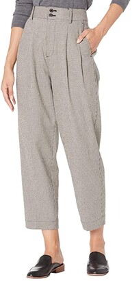 Madewell Pleated Taper Wide-Leg Pants in Mini Houndstooth (Tiny Tooth Coal) Women's Casual Pants