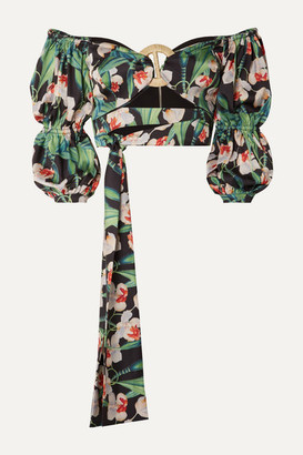PatBO Cropped Off-the-shoulder Floral-print Satin Top - Green