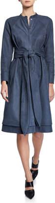 PARTOW Poe Nubuck Leather Jewel-Neck Shirtdress