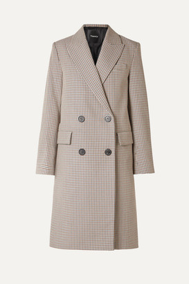 Theory Genesis Double-breasted Houndstooth Cotton And Wool-blend Coat - Beige