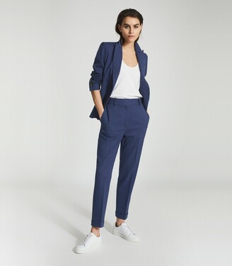 Reiss Sienna - Wool Blend Tailored Trousers in Blue