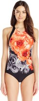 Carmen Marc Valvo Women's High Neck Printed One Piece Swimsuit