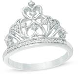 Zales 1/10 CT. T.W. Diamond Crown Ring in Sterling Silver
