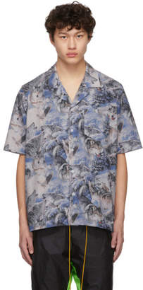 Rhude Blue Wolf Print Shirt