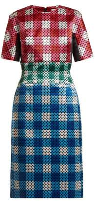 Mary Katrantzou Acacia Circle-printed Gingham Satin Dress - Womens - Blue Multi
