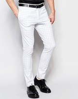 Religion Super Skinny Smart Pants In Contrast Grid Check with Stretch