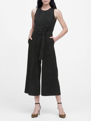 Banana Republic Petite Vegan Suede Cropped Wide-Leg Jumpsuit