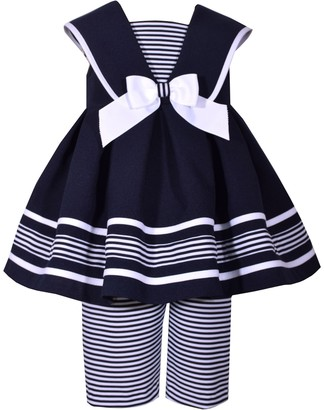 Bonnie Jean Toddler Girl Sleeveless Poplin Nautical Collar to Box Pleat Skirt Dress with Matching Striped Capri Pant
