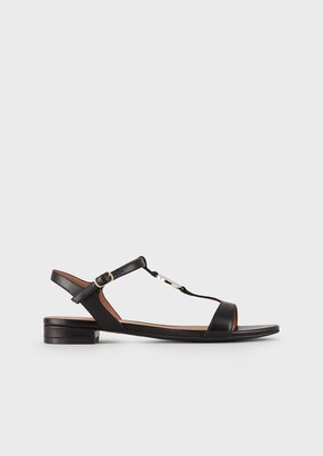 Emporio Armani Nappa-Leather Sandals With Logo Plate