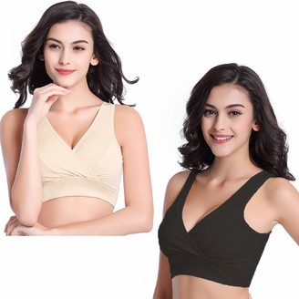 Tuopuda Women's Plus Size Soft Cup Comfort Maternity and Nursing Bra Sleep Bralette 2 Pack Cotton Seamless Wide Shoulder Straps Breastfeeding Top with Removable Spill Prevention Pads