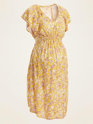Old Navy Maternity Printed Ruffle-Sleeve V-Neck Dress