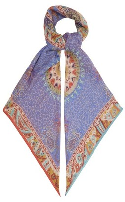 Etro Bombay Paisley-print Cashmere-faille Scarf - Womens - Blue Multi