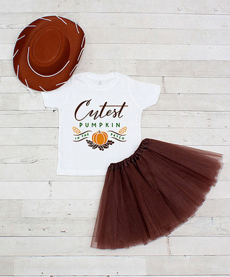 Dress Up Dreams Boutique Girls' Tee Shirts Brown/White - Brown 'Cutest Pumpkin' Tutu Set - Toddler & Girls