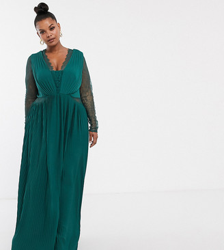 Asos DESIGN Curve lace and pleat long sleeve maxi dress-Green