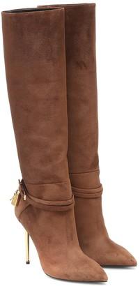 Tom Ford Embellished suede knee-high boots