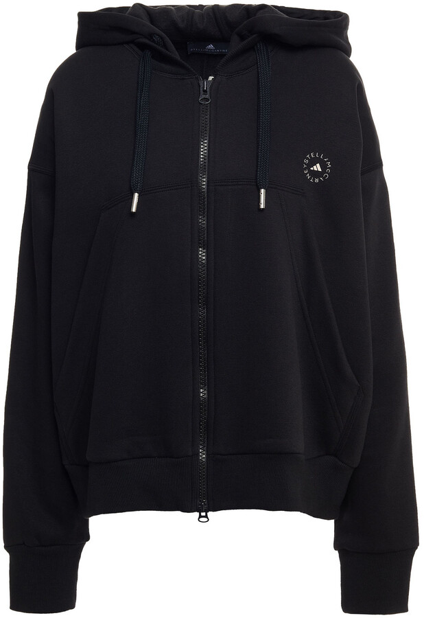 Thumbnail for your product : adidas by Stella McCartney Printed Cotton-blend Fleece Hooded Track Jacket
