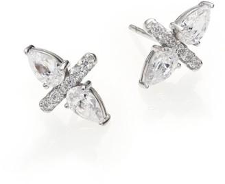 Adriana Orsini Bijoux Sterling Silver Two-Pear Bar Stud Earring