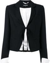 Ann Demeulemeester contrast cuff blazer - women - Silk/Linen/Flax/Virgin Wool - 36