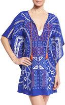 Trina Turk Jakarta Embroidered Caftan Coverup, Blue