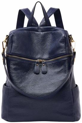 BOYATU Ladies Leather Backpack Women Fashion Daypacks Travel School Bag Rucksack Blue