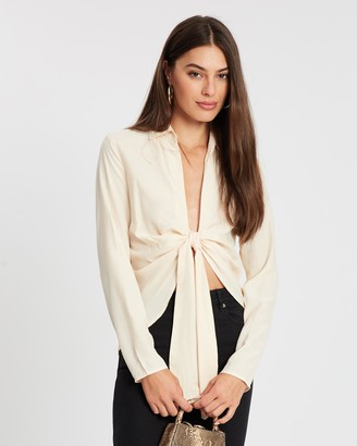 Missguided Tie Front Collared Blouse