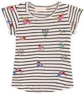 Simple Sale - Ellis Embroidered Flower Striped T-Shirt