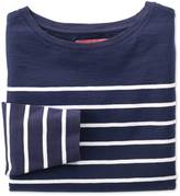 Charles Tyrwhitt Women's navy and white breton stripe boat neck cotton jersey top