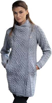West End Side Zip Cable Knit Wool Jacket (Grey XLarge)