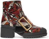 Burberry Patchwork Python Ankle Boots - Red