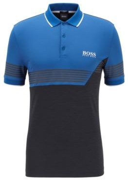 HUGO BOSS Slim Fit Color Blocked Polo Shirt With Printed Stripes - Black