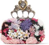 Alexander McQueen Knuckle Floral-appliquéd Satin Clutch - Pink