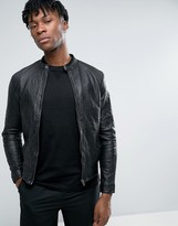 Selected Leather Biker Jacket in Creased Leather