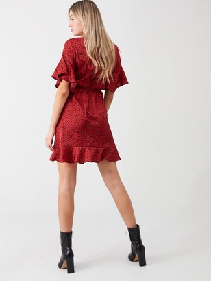 AX Paris Spotty Printed Wrap Dress - Red