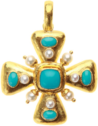 Elizabeth Locke Sleeping Beauty Turquoise and Pearl Maltese Cross Pendant